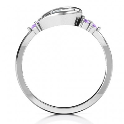 Beautiful Night Solid White Gold Ring