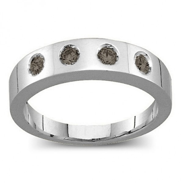 Belt Solid White Gold Ring with 2-6 Round Stones