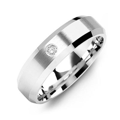 Beveled-Edge Brushed Men's Gemstone Solid White Gold Ring