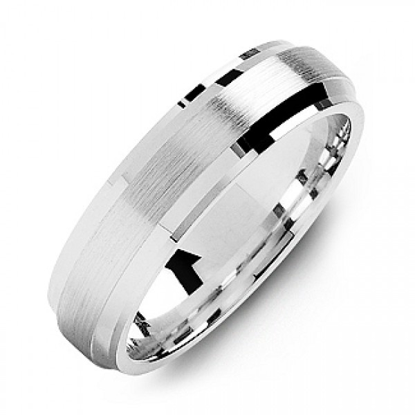 Beveled Edge Men's Solid White Gold Ring with Brushed Centre