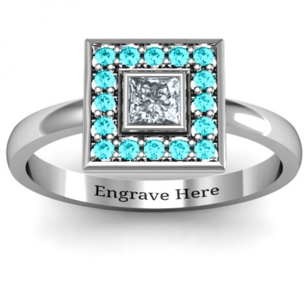 Bezel Princess Stone with Channel Accents Solid White Gold Ring