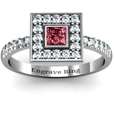 Bezel Princess Stone with Channel Accents in the Band Solid White Gold Ring