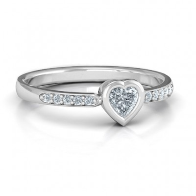 Bezel Set Love Solid White Gold Ring with Accents