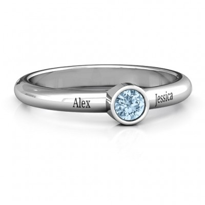 Bezel Set Solitaire Solid White Gold Ring