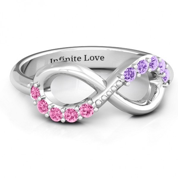 Birthstone Infinity Accent Solid White Gold Ring