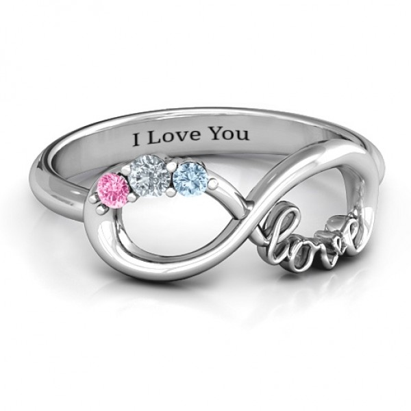 Birthstone Infinity Love Solid White Gold Ring