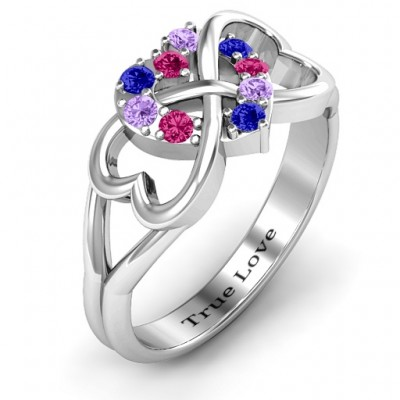 Birthstone Triple Heart Infinity Solid White Gold Ring