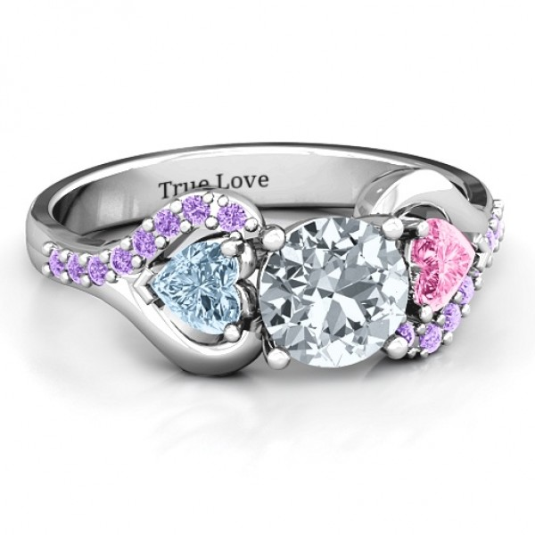 Blast of Love Solid White Gold Ring with Accents