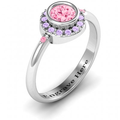Blooming Round Cluster Solid White Gold Ring