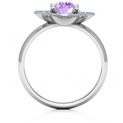 Blossoming Love Engagement Solid White Gold Ring