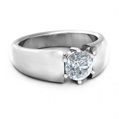 Bold Devotion Solitaire Solid White Gold Ring