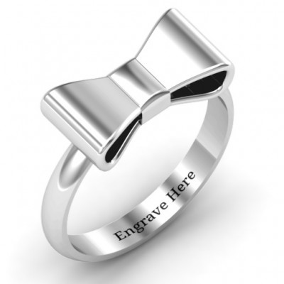 Bow Tie Solid White Gold Ring