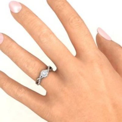 Braided Floral Cluster Solid White Gold Ring with Shoulder Accents