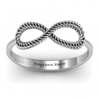 Braided Infinity Solid White Gold Ring