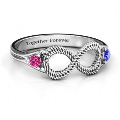 Braided Infinity Solid White Gold Ring with Two Stones