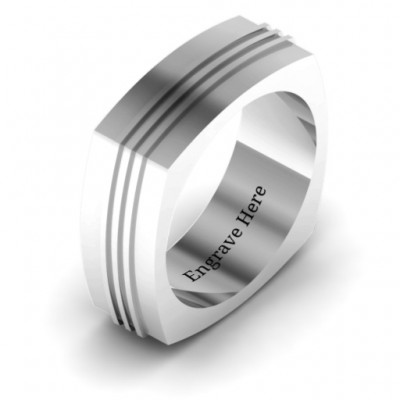 Bridge Grooved Square-shaped Men's Solid White Gold Ring