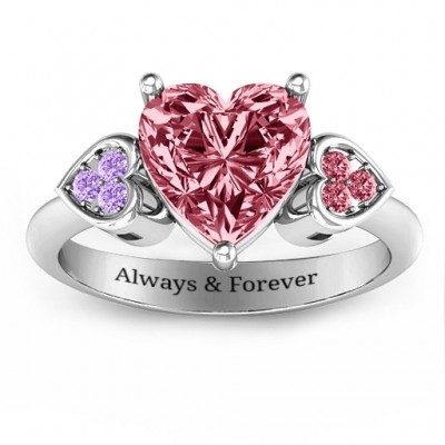 Brilliant Love Accented Heart Solid White Gold Ring