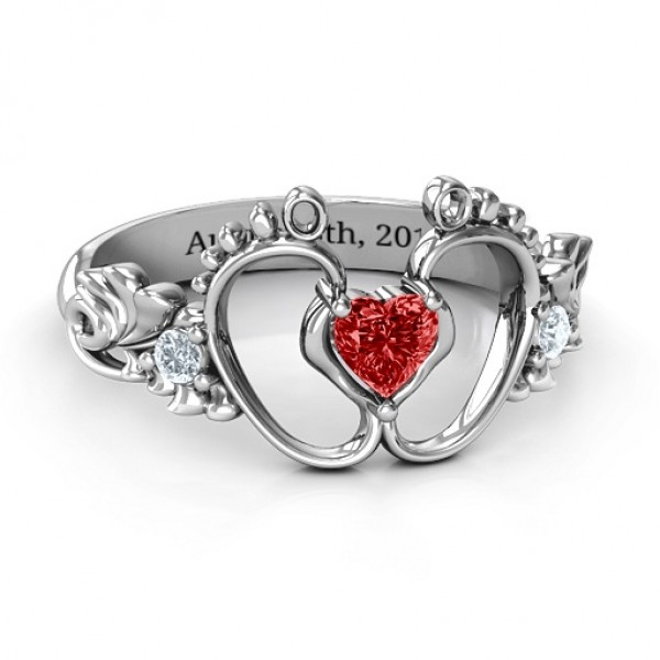 Bundle Of Joy Baby Foot Solid White Gold Ring