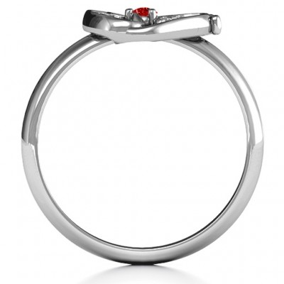 Butterfly Baby Foot Solid White Gold Ring