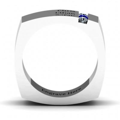 Cache Square-shaped Gemstone Men's Solid White Gold Ring