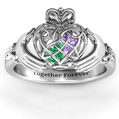 Caged Hearts Celtic Claddagh Solid White Gold Ring