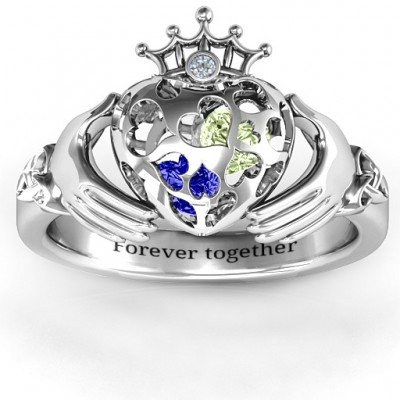 Caged Hearts Claddagh Solid White Gold Ring