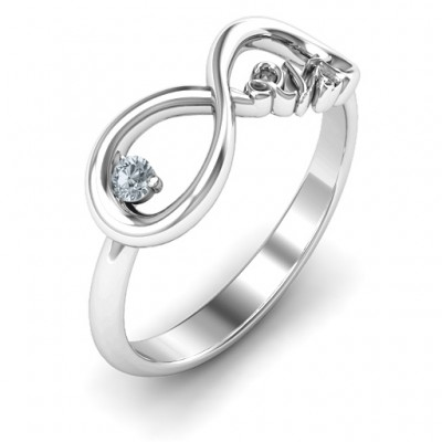 Celebrate 21 Infinity Solid White Gold Ring