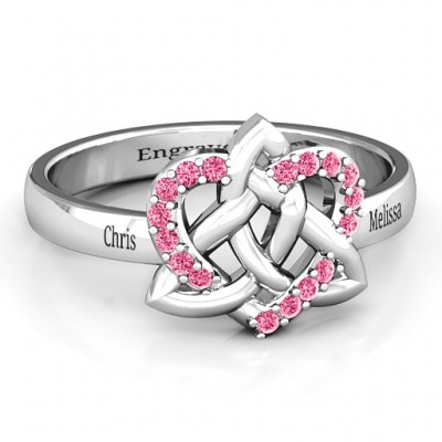 Celtic Heart Solid White Gold Ring