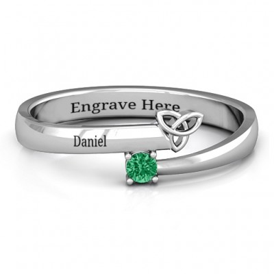 Celtic Solitaire Bypass Solid White Gold Ring