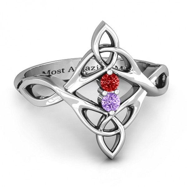 Celtic Sparkle Solid White Gold Ring with Interwoven Infinity Band