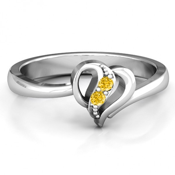 Centre Weave Fashion Heart Solid White Gold Ring