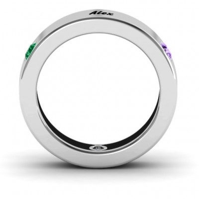 Circular Band 2-5 Stones Solid White Gold Ring