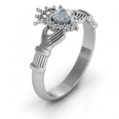 Claddagh with Halo Solid White Gold Ring