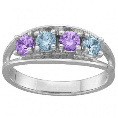 Classic 2-6 Gemstones Solid White Gold Ring