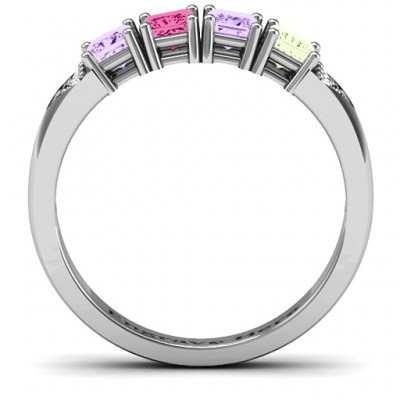 Classic 2-7 Princess Cut Solid White Gold Ring with Accents