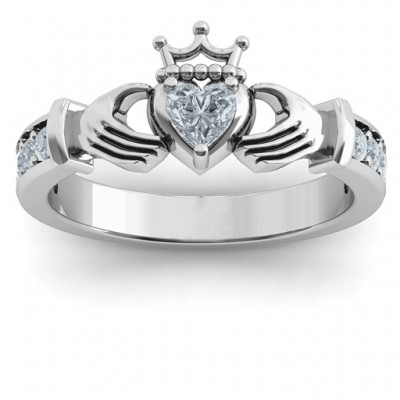 Classic Claddagh Heart Cut Solid White Gold Ring with Accents