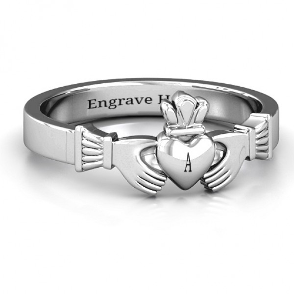 Classic Claddagh Solid White Gold Ring