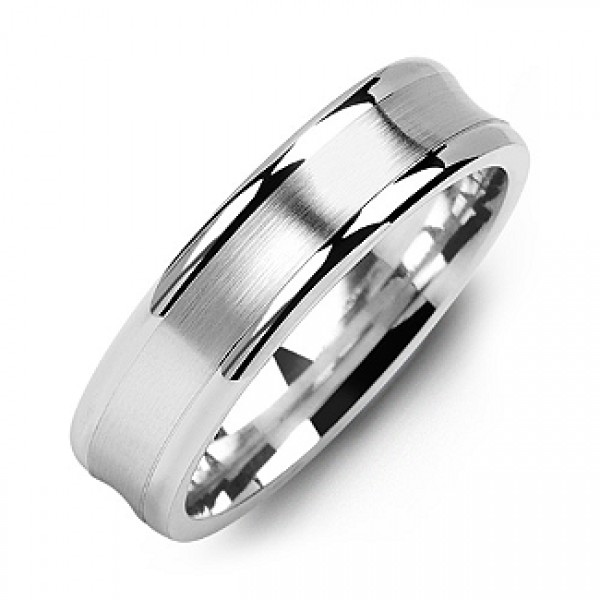 Classic Contoured Men's Solid White Gold Ring with Brushed Centre