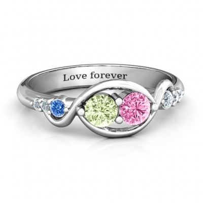 Classic Curves Two-Stone Solid White Gold Ring