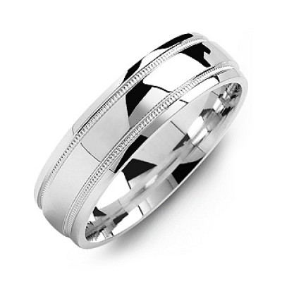 Classic Dome High-Polish Milgrain Men's Solid White Gold Ring