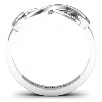 Classic Hearts Infinity Solid White Gold Ring