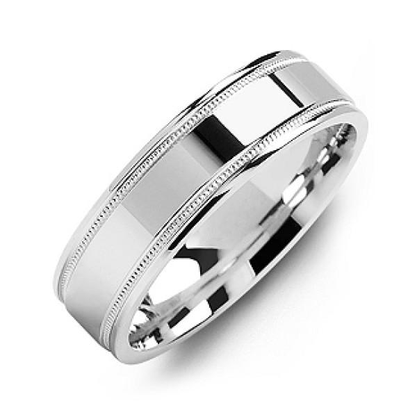 Classic High-Polish Milgrain Men's Solid White Gold Ring
