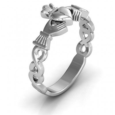 Classic Infinity Claddagh Solid White Gold Ring