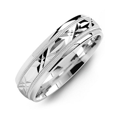 Classic Men's Solid White Gold Ring with Diamond Cut Pattern