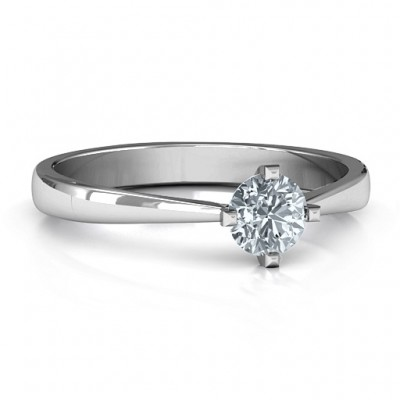 Classic Round Solitaire Solid White Gold Ring