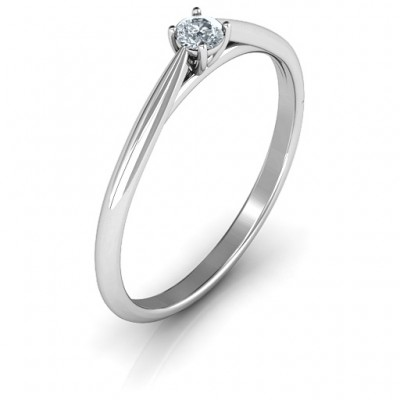 Classic Solitare Sparkle Solid White Gold Ring