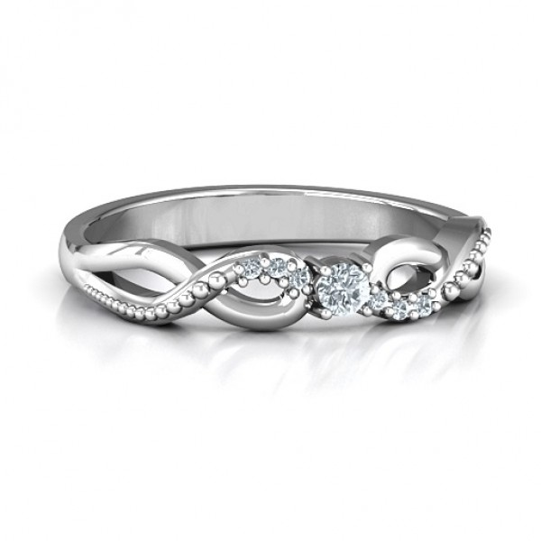 Classic Solitare Sparkle Solid White Gold Ring with Accented Infinity Band