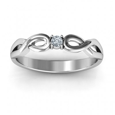 Classic Solitare Sparkle Solid White Gold Ring with Infinity Band