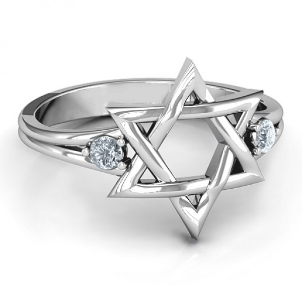 Classic Star of David Solid White Gold Ring
