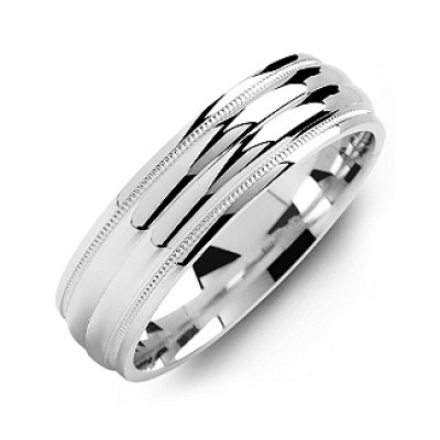 Classic Two-Line Milgrain Men's Solid White Gold Ring